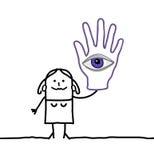 Spåman med det stora ögat i hennes hand royaltyfri illustrationer