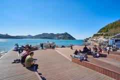 Spång av fritidhamnen av San Sebastian Baskiskt land, Guipuzcoa spain Arkivbild