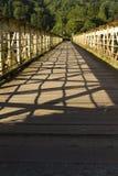 Spång när en järnvägsbro – trådbron på Tintern. Royaltyfri Foto