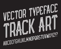 Spår Art Vector Typeface Randig stilsort för vit Isolerat engelskt alfabet Vektor Illustrationer