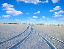 Spår av bilen i snö royaltyfri bild