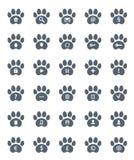 Spår av Cat Icons Set. Royaltyfri Fotografi