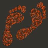 Spår av den mänskliga foten vektor illustrationer