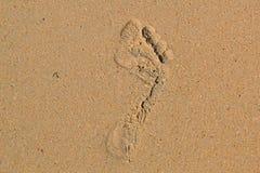 Spår av en kal fot av personen på sand Royaltyfri Foto