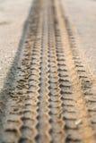 Spår av gummihjulet i sand Arkivfoto
