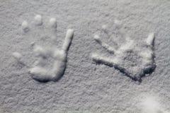 Spår av handen på snön, Kashmir, Jammu And Kashmir, Indien Arkivfoto
