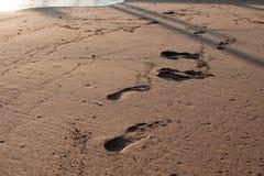 Spår av mänsklig fot på sanden på stranden nära havet Arkivfoton