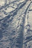 Spår i ny snö Royaltyfri Bild
