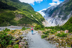 Spår på Franz Josef Glacier, Nya Zeeland royaltyfria foton
