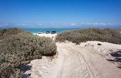 Spår 4WD till stranden Arkivbild