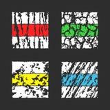 Spåra eller fotvandra slingamålarfärgfläckar av olika färger arkivfoton