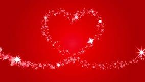 Spårad hjärtaform vid röda partikelkronblad - royaltyfri illustrationer