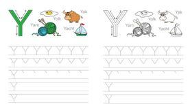 Spårande arbetssedel för bokstav Y stock illustrationer