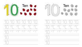 Spårande arbetssedel för diagram tio vektor illustrationer