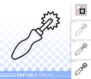 Spårande enkel svart linje vektorsymbol för hjul stock illustrationer
