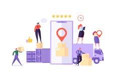 Spårande service för online-App för lastleverans mobil Världsomspännande logistiskt leveransbegrepp med kuriren Characters vektor illustrationer