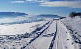 Spårar i snowen Fotografering för Bildbyråer