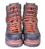Spåring av de gamla bruna läderkängorna Royaltyfria Bilder