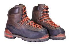 Spåring av de gamla bruna läderkängorna Royaltyfria Foton
