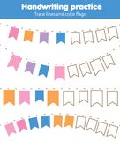 Spåringslinjer för små barn Handskriftövningsark Bildande barn spelar, den tryckbara arbetssedeln för ungar stock illustrationer