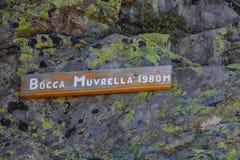 Spårtecken av det Bocca Muvrella passerandet Royaltyfri Foto