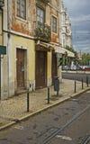 spårvägstänger, Lissabon, Portugal uteplats Royaltyfri Fotografi