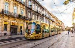 Spårvagn för Alstom Citadis 302 i Montpellier, Frankrike Royaltyfri Bild