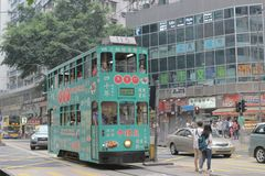 8 spårvagn HK April 2014 för dubbel däckare arkivfoto