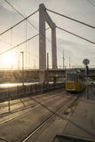 Spårvagn i Budapest på solnedgången Royaltyfria Foton