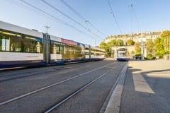 Spårvagn i Genève, Schweiz - HDR Arkivbild