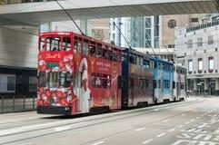 Spårvagn i Hong Kong Island Royaltyfri Bild
