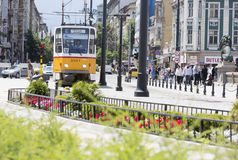 Spårvagn i Sofia, Bulgarien Arkivbild