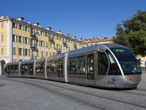 Spårvagn - Nice - söder av Frankrike Arkivbilder