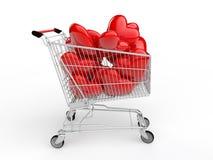 spårvagn och hjärtor för shopping 3d stock illustrationer