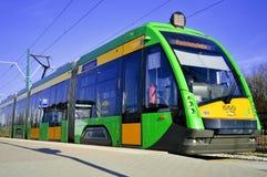 Spårvagn Tramino i Poznan Polen Royaltyfria Foton