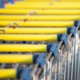 Spårvagnar för supermarketshoppingvagn Royaltyfria Bilder