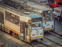 Spårvagnar i Bucharest Royaltyfri Foto