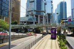 Spårvagnar också en turist- dragning för ha som huvudämne och den av den mest miljövänliga vägen av resanden i Hong Kong Arkivfoto