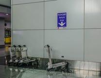 Spårvagnar på flygplatsen arkivfoto
