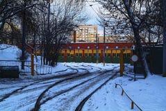 Spårvagnbussgarage i Moskva Fotografering för Bildbyråer