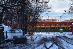 Spårvagnbussgarage i Moskva Arkivfoton