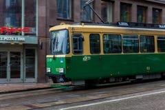 Spårvagnlinje i Helsingfors finland Arkivbild