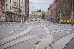Spårvagnspår Fotografering för Bildbyråer