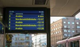 Spårvagnstopp i den Helsingfors mitten royaltyfri foto