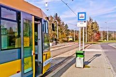 Spårvagnstopp Pilzen arkivbilder
