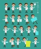 Spécialiste comique Doctors Poses et ensemble de vecteur de concepts illustration stock