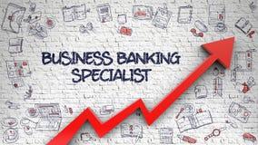 Spécialiste Drawn en opérations bancaires d'affaires sur le mur de briques Images stock