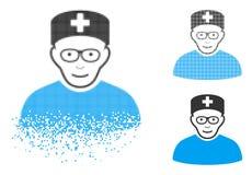 Spécialiste médical tramé pointillé décomposé Icon avec le visage illustration stock