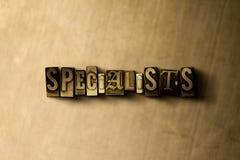 SPÉCIALISTES - plan rapproché de mot composé par vintage sale sur le contexte en métal Photographie stock libre de droits