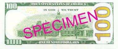 spécimen inverse de billet de banque de 100 nous-dollars image libre de droits